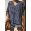 Simple Pinstripes Pattern V-Neck Single Breasted Long Sleeve Curved Hem Loose Navy Shirt