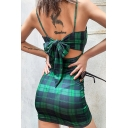 Womens Classic Green Plaid Printed Spaghetti Straps Bowknot Back Mini Party Slip Dress