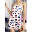 Womens Stylish Colorful Butterfly Printed Spaghetti Straps White Mini Party Dress