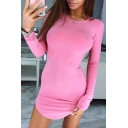 Ladies Popular Solid Color Pink Round Neck Long Sleeve Curved Hem Mini Velvet Party Dress