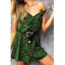 Green Retro Leopard Print V-Neck Spaghetti Straps Mini A-Line Club Dress for Women