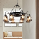 Industrial Cage Chandelier with Wheel 6/8 Lights Pendant Lamp in Black for Cottage Coffee Shop