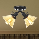 Amber/Clear Glass Cone Semi Mount Lighting Industrial Style 2 Lights Black/Bronze Ceiling Light Fixture for Indoor