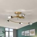 Brass Swirling Semi Flush Lamp Modernism 3/5 -Head Clear/Matte White Glass/Crystal Ceiling Light Fixture