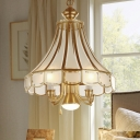 Brass Finish Bell Chandelier Lamp Traditional Frosted Glass 5-Light Suspension Lighting