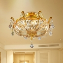 Golden Basket Semi Flush Ceiling Light Modernist 5-Head Flush Mount Fixture with Clear Glass Shade and Crystal Draping