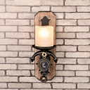 Cylinder Wall Mount Lamp Lodge Style Frosted Glass 1/2-Head Black and Gold Sconce Lighting with Anchor Design