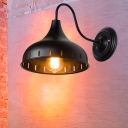 Onion Shade Restaurant Wall Lighting Metal 1 Head Industrial Wall Light Fixture with Gooseneck Arm in Black/White/Weathered Copper