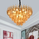 Amber Glass Tapered Chandelier Light Postmodern 7/9 Heads Hanging Lamp Kit for Living Room
