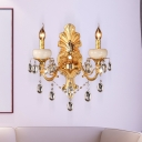 Heads Candelabra Sconce Light Traditional Gold Metal Wall Mount Light with Crystal Drop