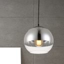 Minimalist Sphere Pendant Lamp Silver and Clear Glass 1 Head 6
