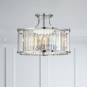 Clear Crystal Drum Ceiling Light 4 Lights Modernism Polished Chrome Semi Flushmount