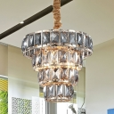 Multi Layer Tapered Hanging Light 3/5 Lights Modern Foyer Pendant Light with Faceted Cut Crystal Glass