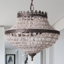 Urn Hanging Ceiling Light Rustic Industrial Clear Crystal Bead 2 Lights Pendant Lamp in Bronze