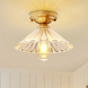 Cone Flush Mount Lamp with Clear Striped Glass Shade Vintage 1 Light Flush Ceiling Light in Brass