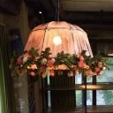 Antique Geometric Hanging Ceiling Light Distressed White Fabric 1 Light Restaurant Pendant-Light Fixture