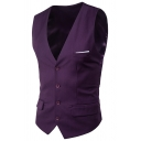 Mens Casual Business V-Neck Sleeveless Single Breasted Plain Fitted Satin Suit Vest