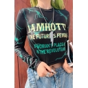 Stylish Women's Long Sleeve Crew Neck Letter JAMHOTTY Lightning Printed Slim Black Crop T-Shirt