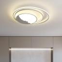 Gray Circle Ring Flush Light Fixture Modern Stylish LED Acrylic Ceiling Mounted Light for Bedroom