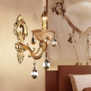 1 Head Sconce Light Traditional Candle Metal Wall Mount Light in Brass with Faceted Crystal Drop