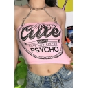 Edgy Girls' Hot Sleeveless Halter Chain Hollow Out Letter CUTE PSYCHO Graphic Fitted Crop Tank Top in Pink