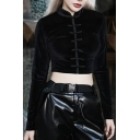 Dark Street Vintage Long Sleeve Band Collar Frog Button Down Zip Back Black Velvet Crop Tee for Female
