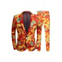 Red and Yellow Dragon Print Long Sleeve Single Button Casual Blazer and Pants Set
