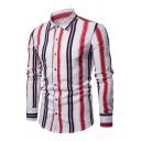 Mens Streetwear Contrast Vertical Striped Print Long Sleeve Single Breasted Slim Leisure Shirt