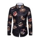 Mens Unique Crown Pattern Long Sleeve Button Down Black Leisure Shirt