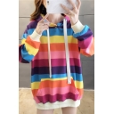 Korean Style Classic Rainbow Stripes Printed Long Sleeve Loose Tunic Drawstring Hoodie