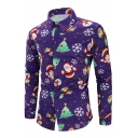 Mens Popular Christmas Tree Santa Claus Pattern Single Breasted Fitted Holiday Shirt