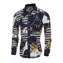 Black Classic Chain Stripe Print Long Sleeve Slim Fit Button Up Shirt for Men