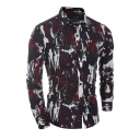 Mens Classic Camouflage Jungle Printed Long Sleeves Single Breasted Slim Outdoor Shirt