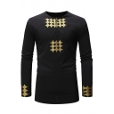 Mens Retro Geometric Pattern Long Sleeve Button Front African Style Tunic Shirt