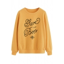 Creative Letter SAVE THE BEES Print Long Sleeve Crewneck Pullover Sweatshirt
