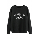 Womens Simple THE LOSERS CLUB Letter Biker Print Long Sleeve Cotton Pullover Sweatshirt
