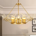 Wavy Ceiling Chandelier with Clear Crystal Bird Shade Mid Century 9 Lights Pendant Lighting in Brass