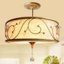 3-Light Round Semi Flush Lamp Traditional Golden Metal Ceiling Light with Crystal Element, 14