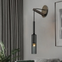 Black Arm Sconce Light Simplicity Metal 1 Head Wall Mounted Light with Cylinder Smoke Grey Crystal Shade
