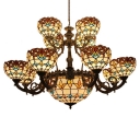 2/3-Tier Tiffany Baroque Chandelier with Tulip Pattern Glass Shades