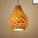 Woven Pendant Lighting with Gourd Bamboo Shade 1 Light Asian Suspension Light in White, 8.5