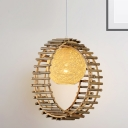 Beige Rattan Orb Hanging Light with Bamboo Ring Asian Style Single Pendant Light for Restaurant