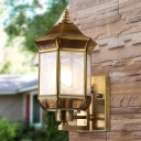 Bird Cage Metal Wall Sconce Traditional 1 Light Porch Wall Lighting Fixture in Gold