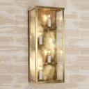 4 Bulbs Wall Mount Light Vintage Cuboid Box Metallic and Clear Glass Sconce Light in Gold/Black