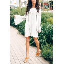Fashion Ladies' Long Sleeve Off The Shoulder Lace Trim Patched Plain Short Swing Dress
