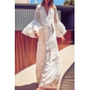 Fancy Ladies Tiered Sleeve Deep V-Neck Floral Embroidered See-Through White Mesh Maxi Flowy Dress