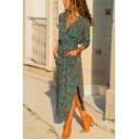 Pretty Ladies' Long Sleeve V-Neck Floral Pattern Bow-Tied Slit Side Asymmetric Long Sheath Shirt Dress