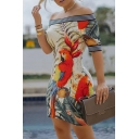 Chic Street Short Sleeve Off The Shoulder Parrot Patterned Contrast Piped Apricot Tight Short Dress for Women
