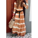 Gorgeous Girls' Long Sleeve Round Neck Stripe Print Belted Pleated Maxi Flowy Tee Dress