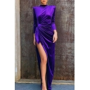 Glamorous Ladies Long Sleeve Mock Neck Tied Waist High Slit Side Fitted Maxi Column Dress in Dark Purple